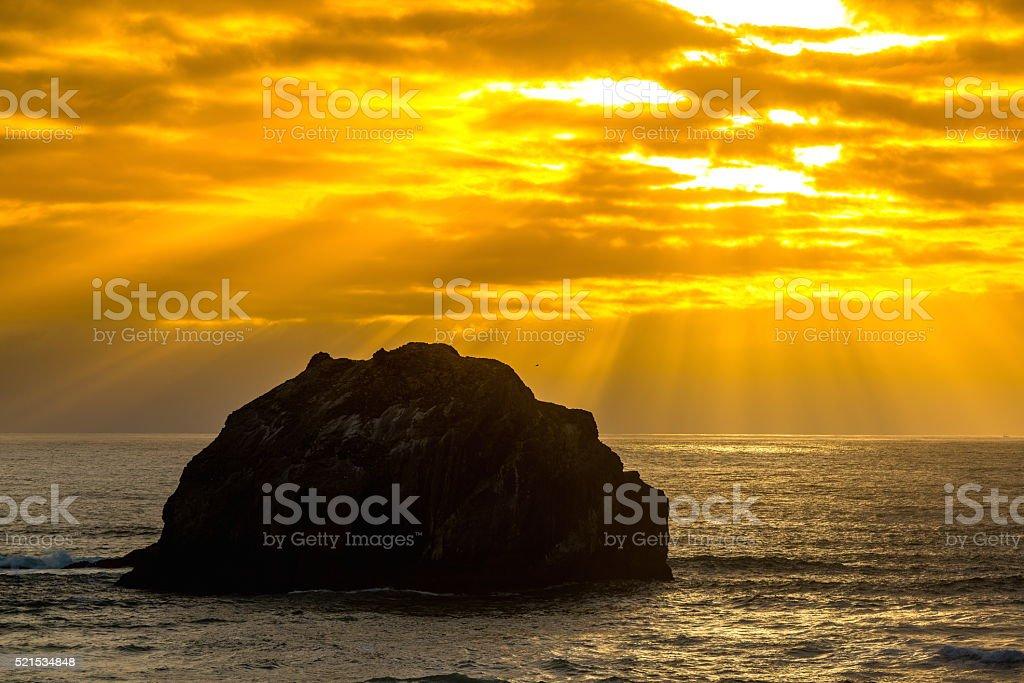 Face Rock at Bandon Beach, Oregon stock photo