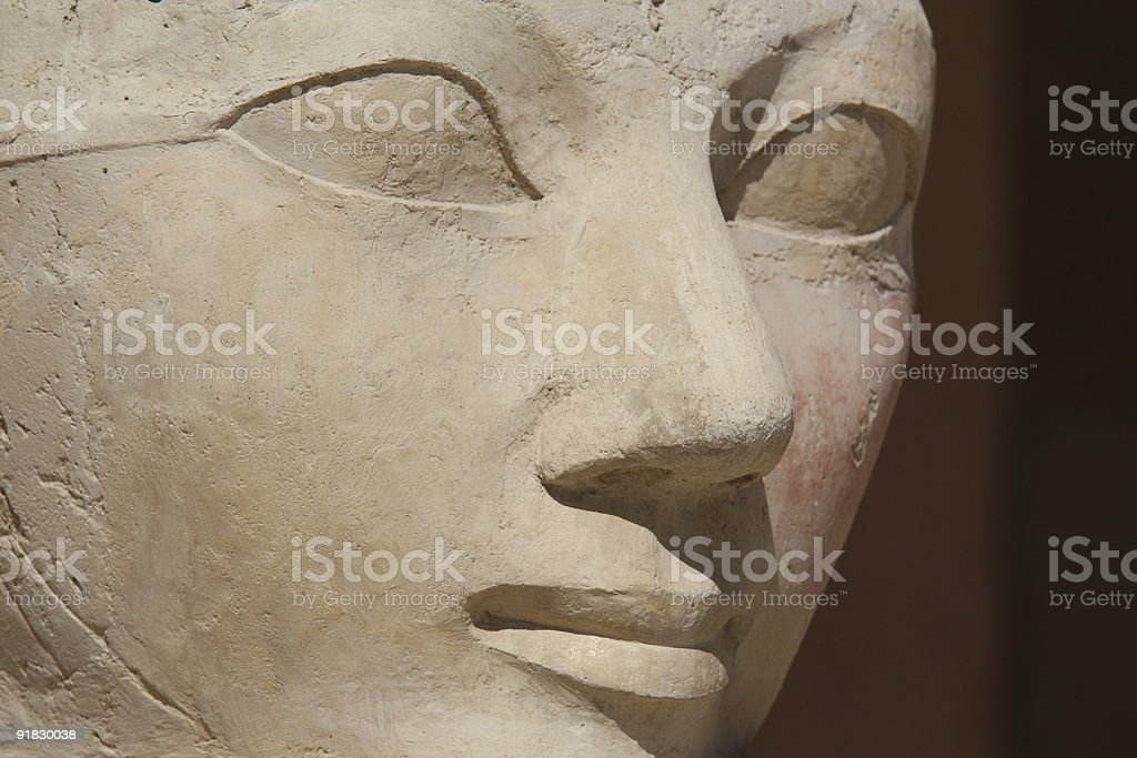 Face sculpture of Queen Hatshepsut at Luxor, Egypt stock photo