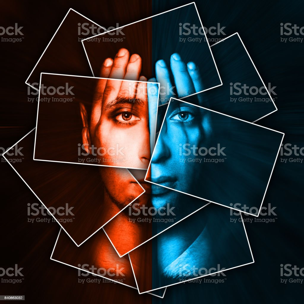 Face shines through hands, face is divided into many parts by cards ,...