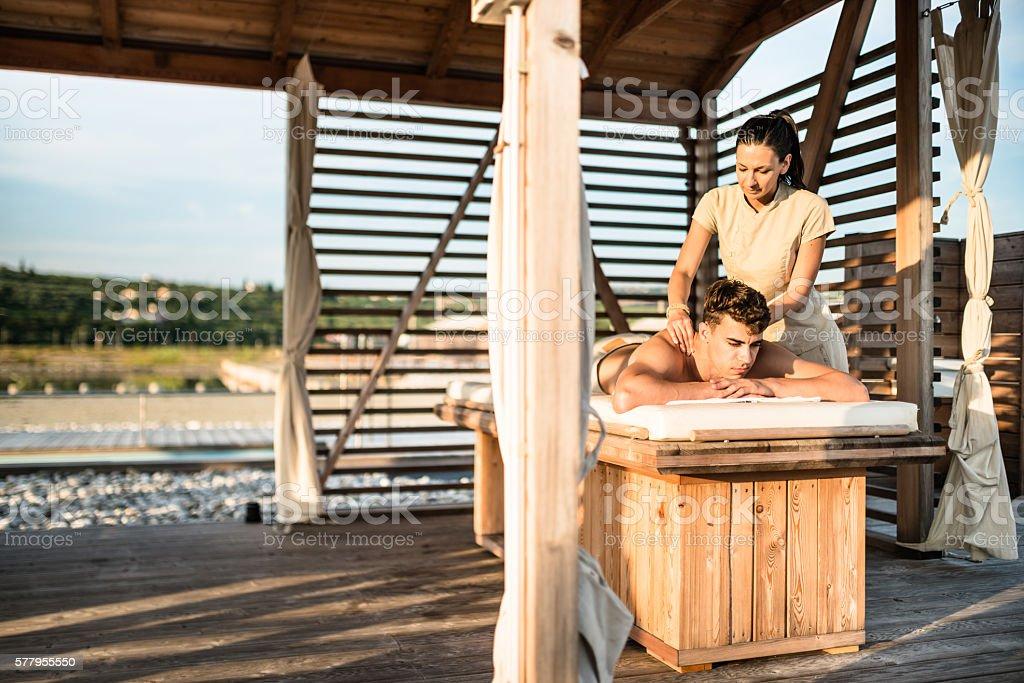 face spa massage stock photo
