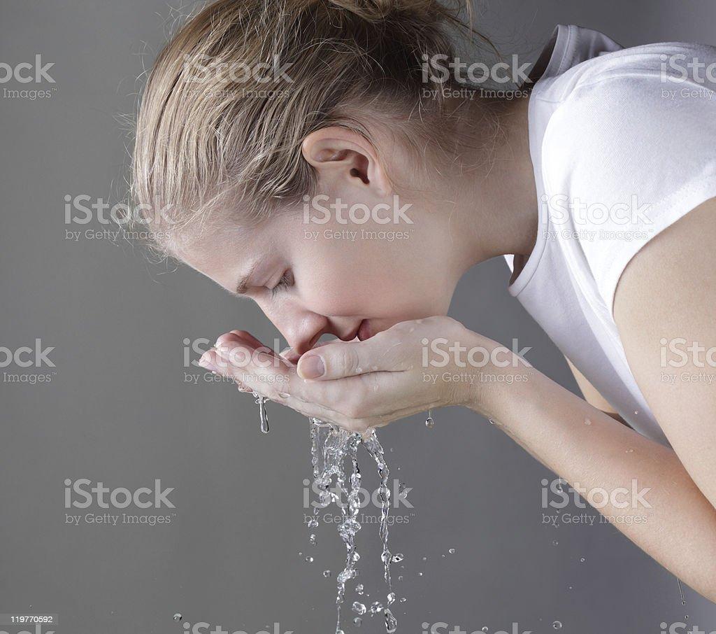 face washing royalty-free stock photo