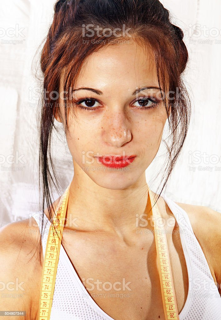 face with freckles stock photo