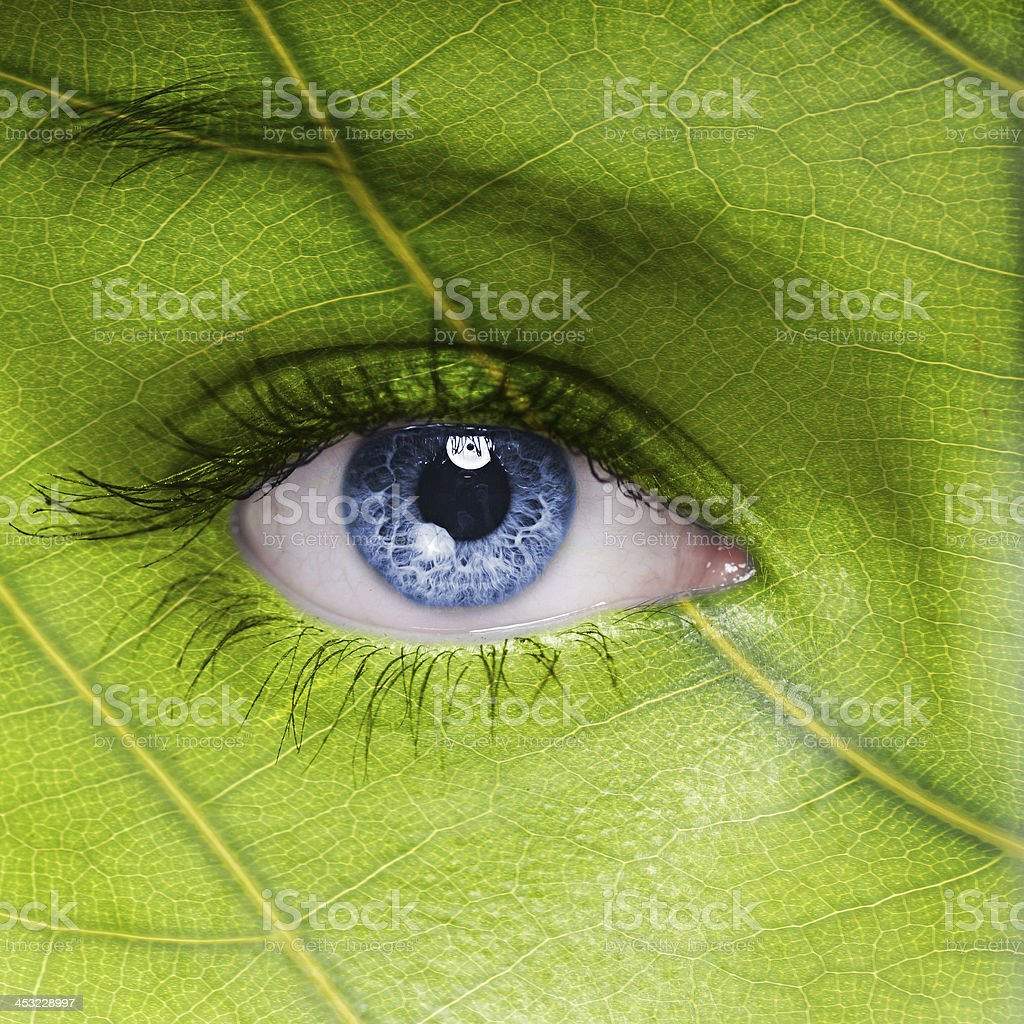 Face with leaf texture stock photo