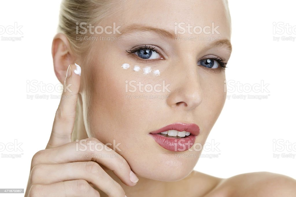 Face with moisturizer royalty-free stock photo