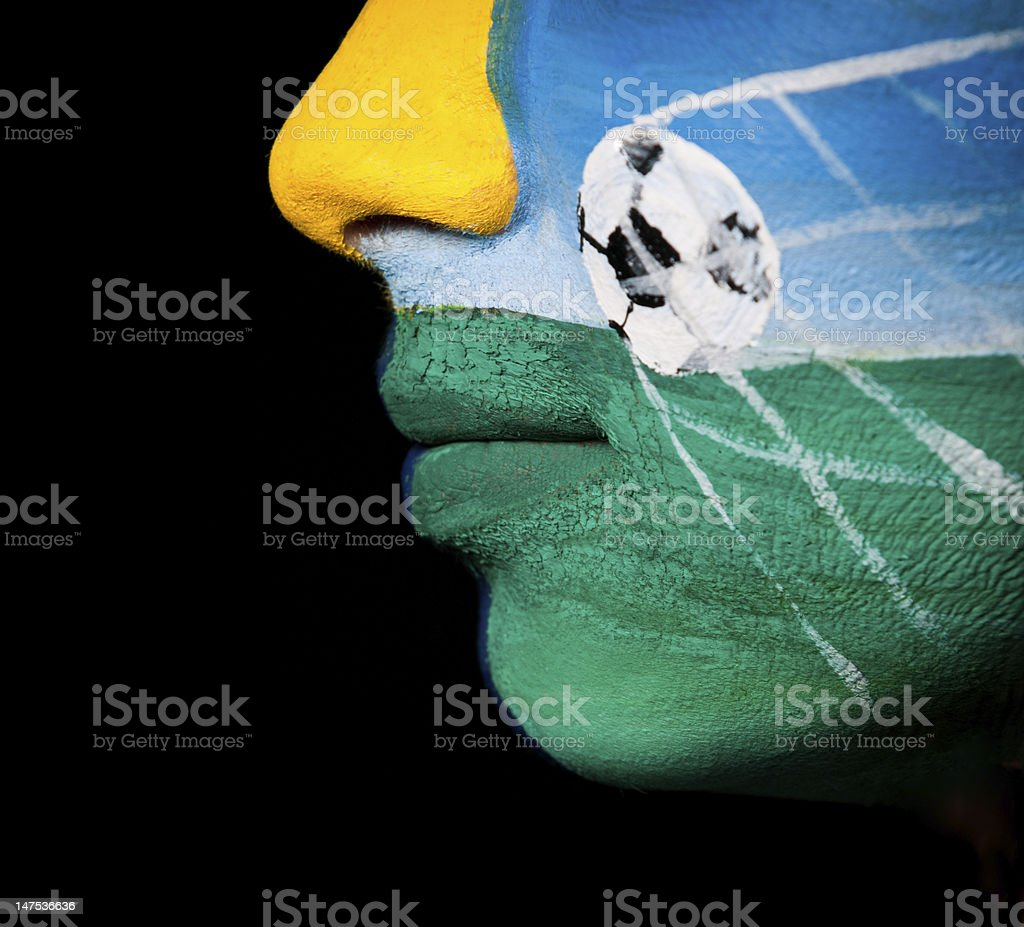 face-art soccer fan - Ukraine royalty-free stock photo