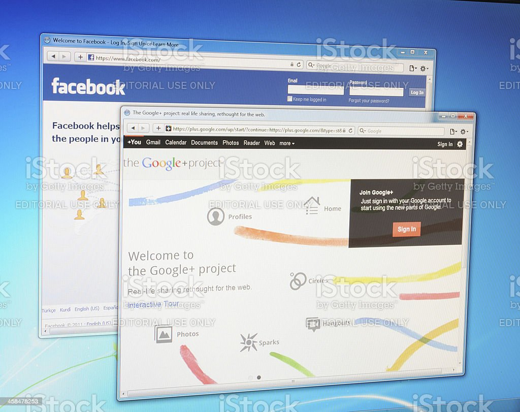 Facebook and Google+ web sites on computer screen royalty-free stock photo