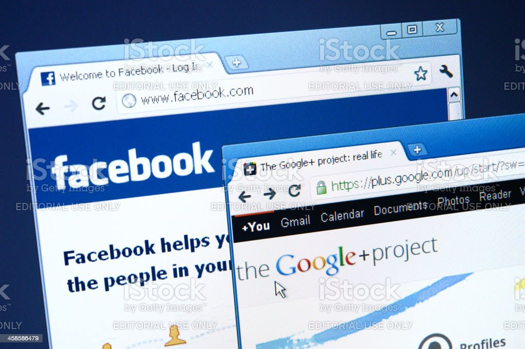 Facebook and Google+ websites on computer screen royalty-free stock photo