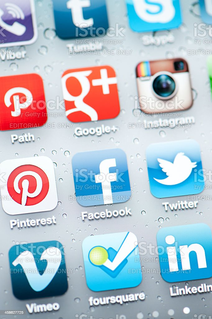 Facebook and Social Media Applications on Iphone royalty-free stock photo