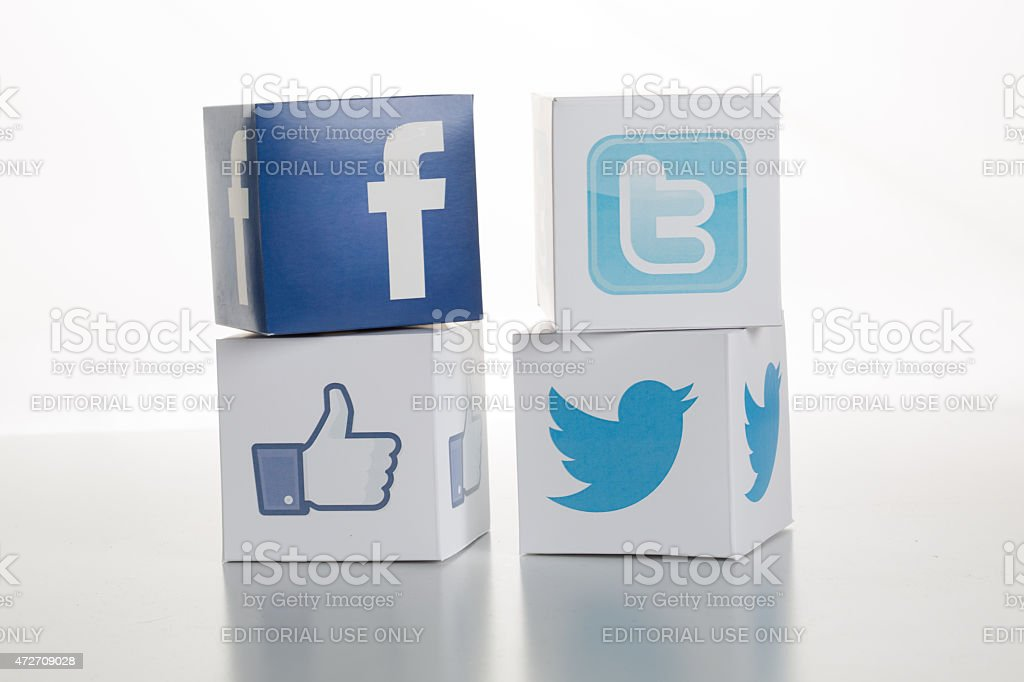 Facebook and Twitter Logos-Icons stock photo