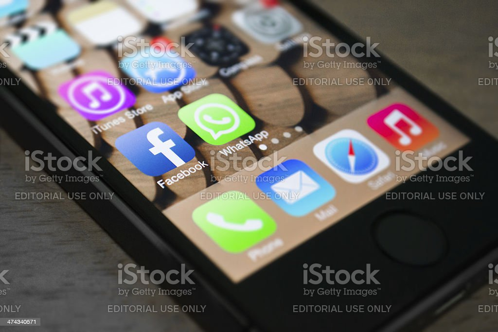 Facebook and WhatsApp applications stock photo