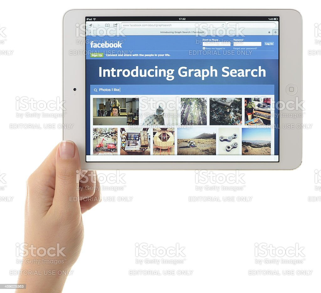 Facebook Graph Search on iPad Mini royalty-free stock photo