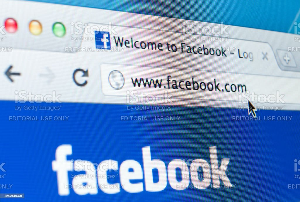 Facebook Homepage Closeup on LCD Screen, Chrome Web Browser stock photo
