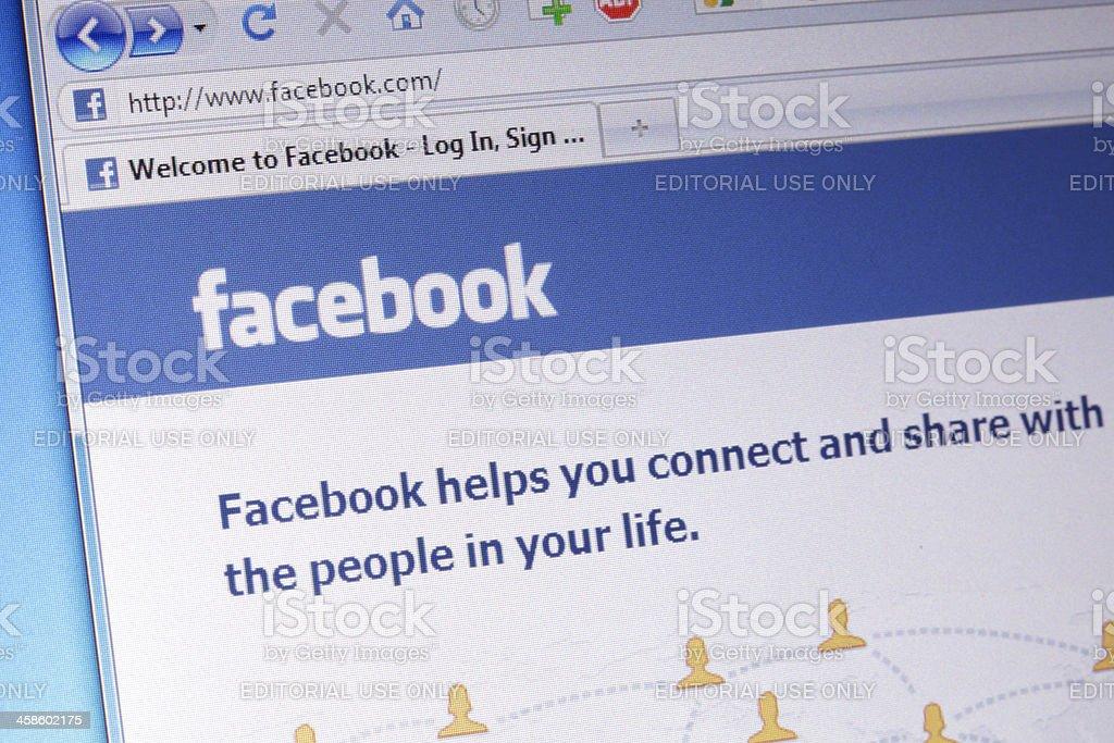 Facebook homepage macro royalty-free stock photo