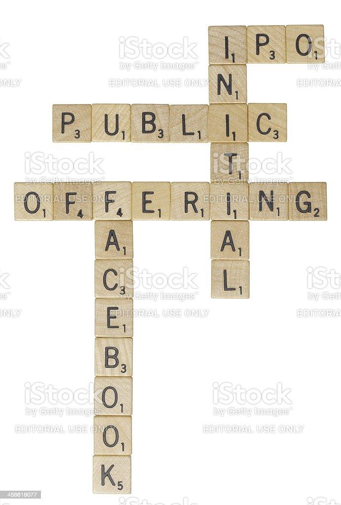Facebook IPO Scrabble tiles stock photo
