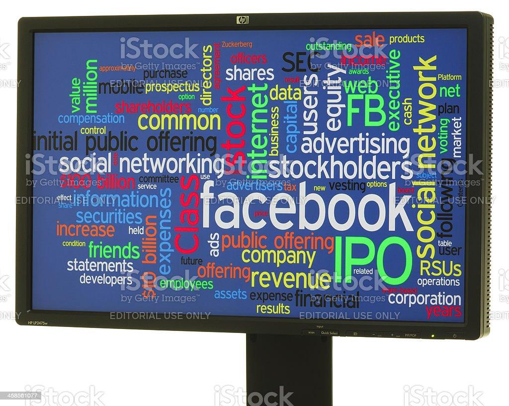Facebook IPO word cloud stock photo