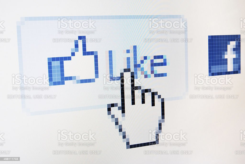Facebook like button macro close-up on RGB monitor royalty-free stock photo