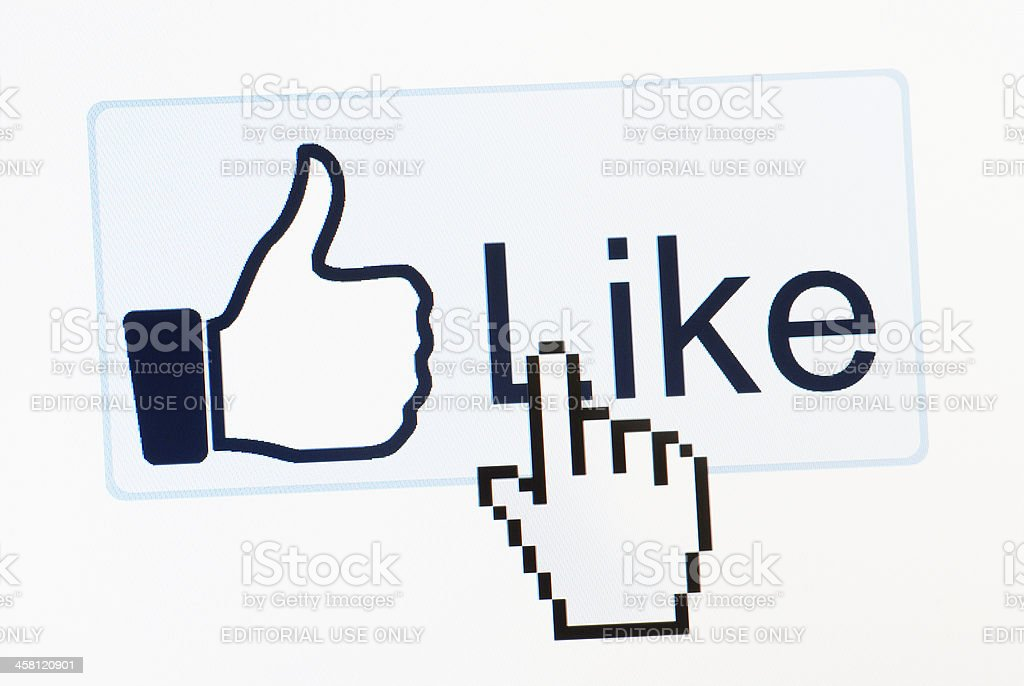 Facebook like button macro close-up royalty-free stock photo