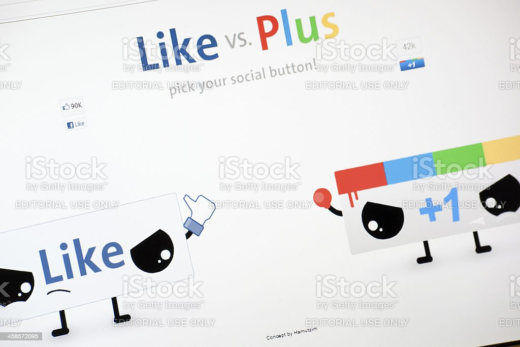 Facebook Like VS Google Plus One royalty-free stock photo