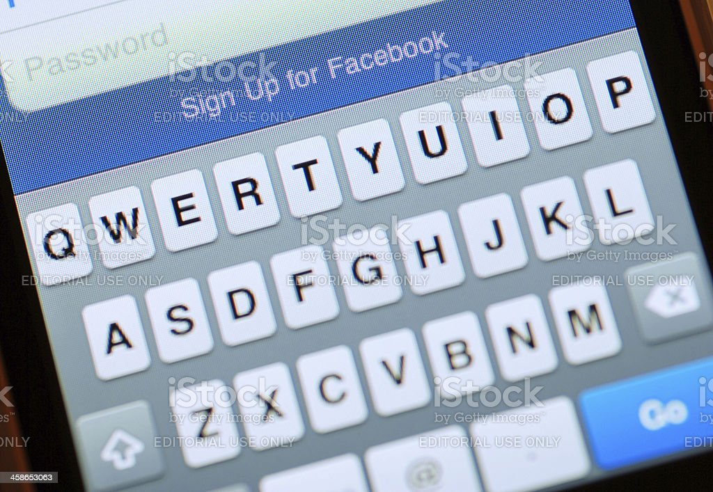 Facebook Log in Screen on Iphone 4 royalty-free stock photo
