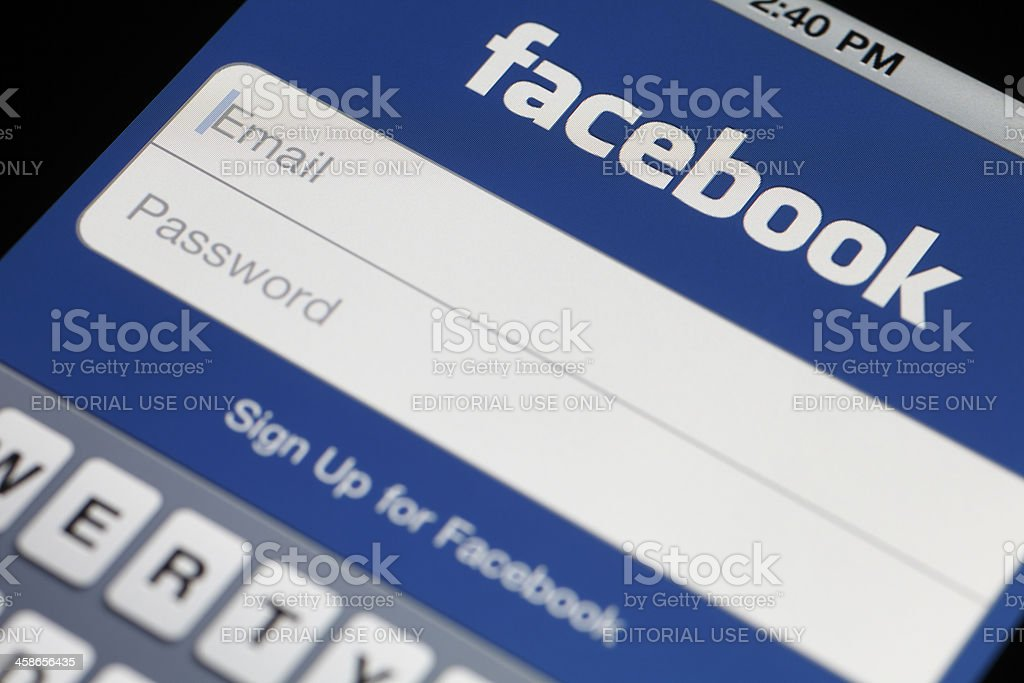 Facebook Login on Apple iPhone 4 royalty-free stock photo