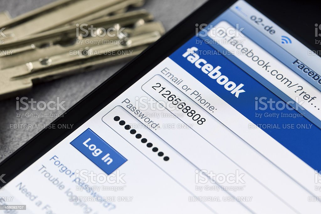 facebook login page on smartphone royalty-free stock photo