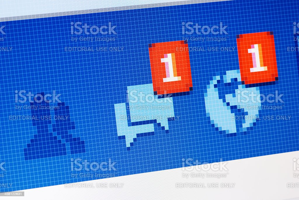Facebook message and notification alert close-up on RGB monitor stock photo