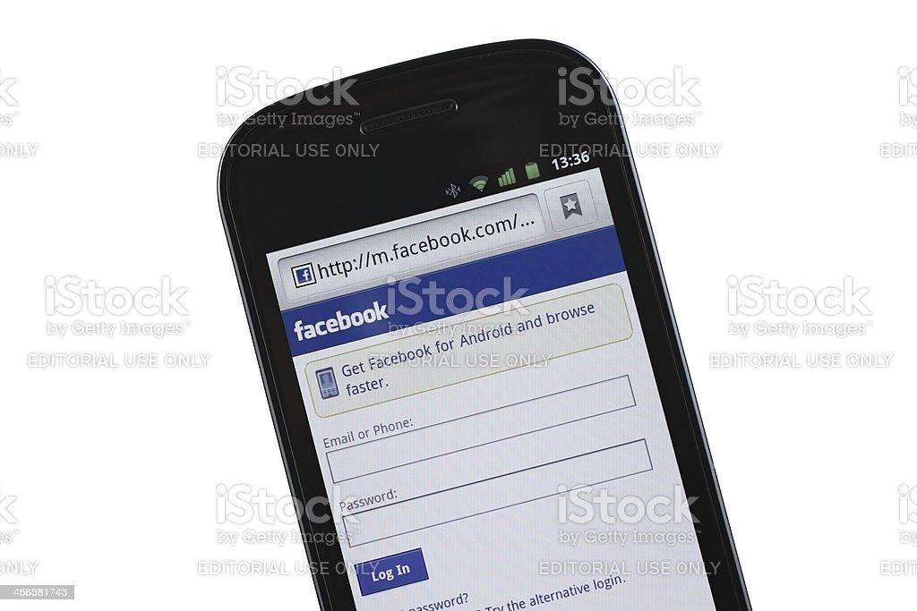 Facebook mobile site stock photo