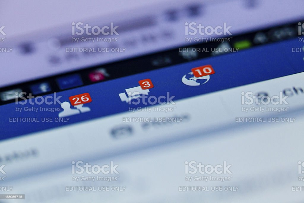 Facebook notifications royalty-free stock photo