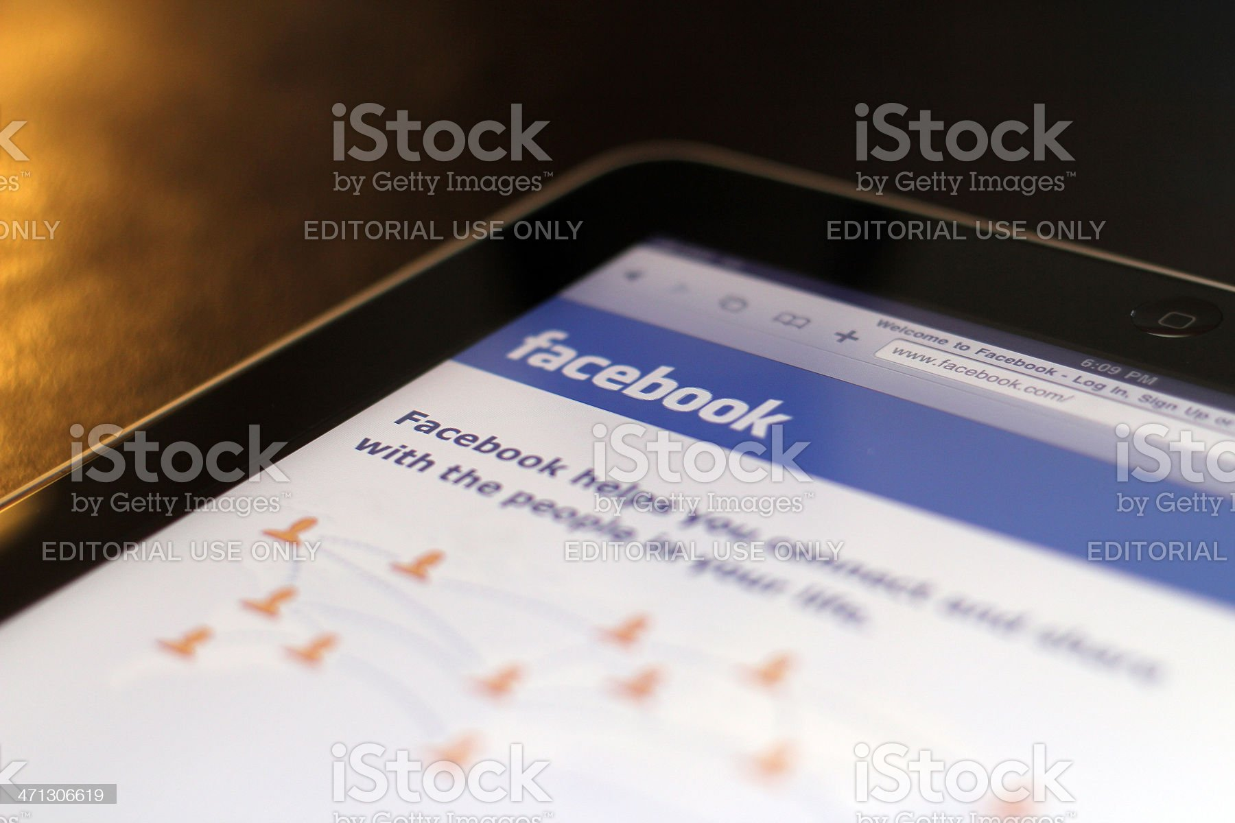 Facebook on an Apple iPad royalty-free stock photo