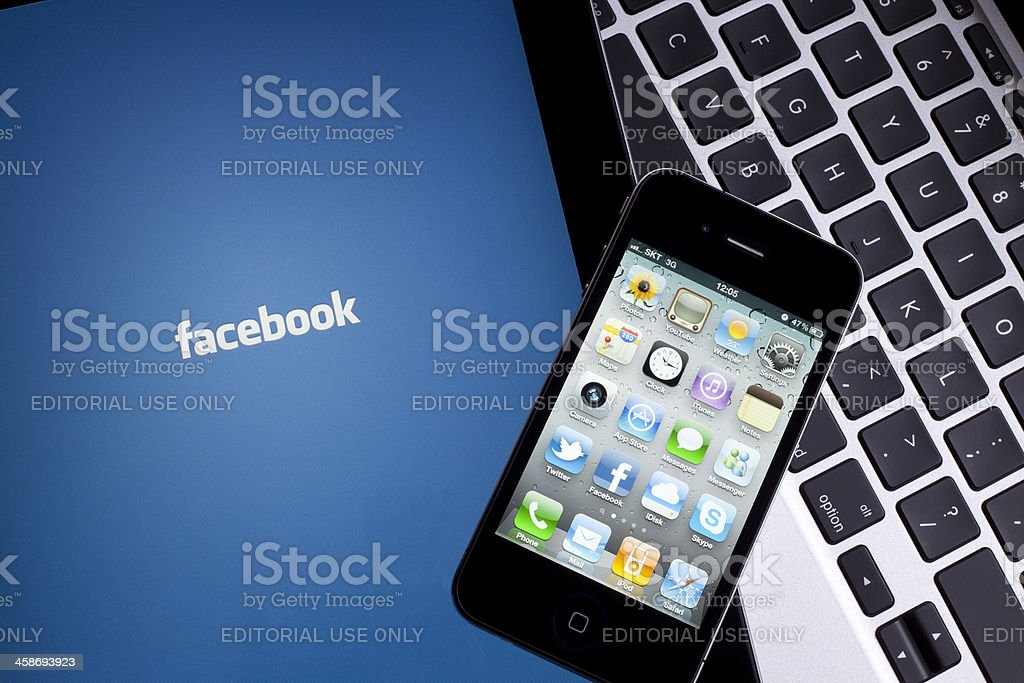 Facebook on Apple iPad royalty-free stock photo