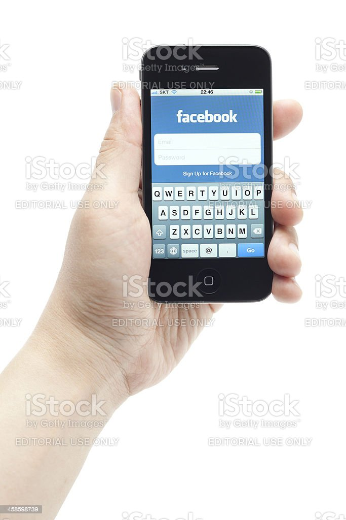 Facebook on Apple iPhone royalty-free stock photo