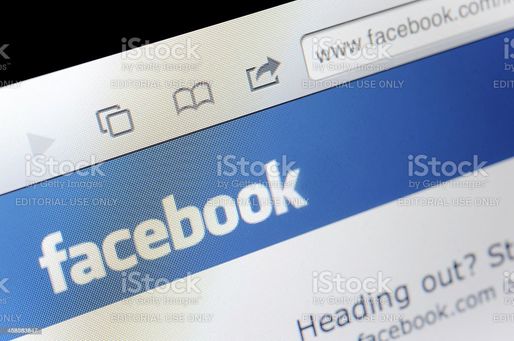 Facebook on computer screen royalty-free stock photo