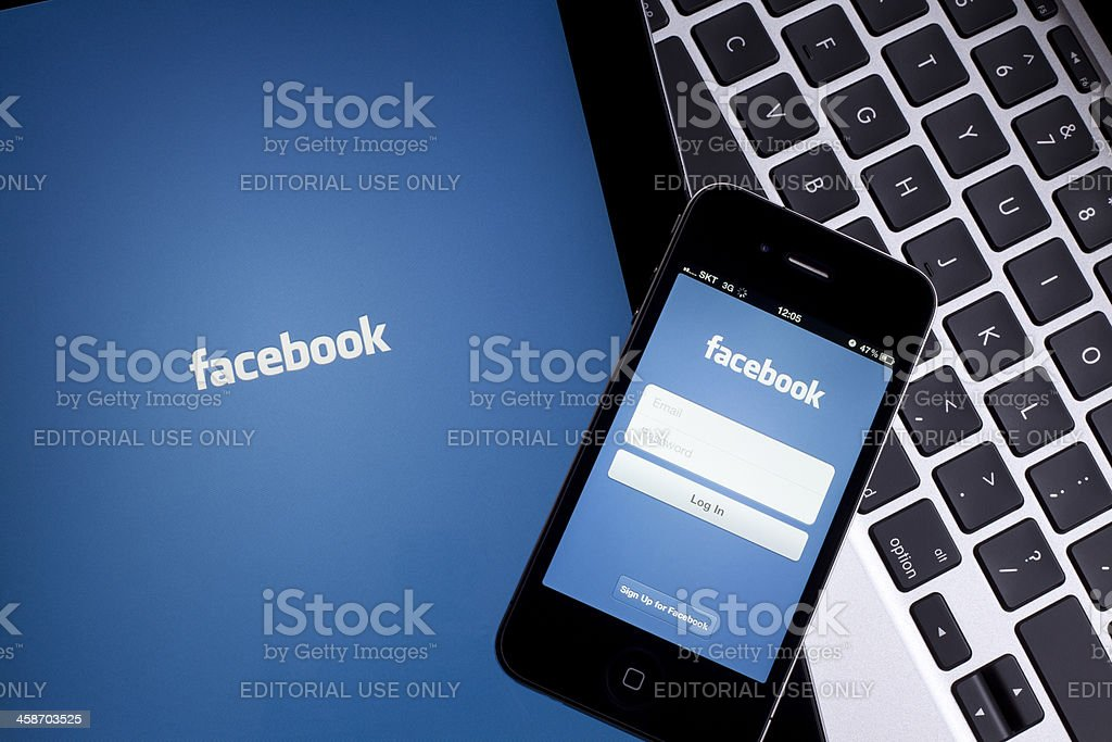 Facebook on Digital Tablet stock photo