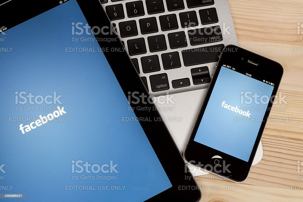Facebook on Digital Tablet royalty-free stock photo