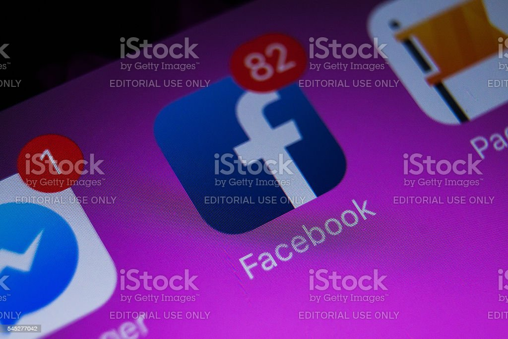 Facebook on iPad stock photo