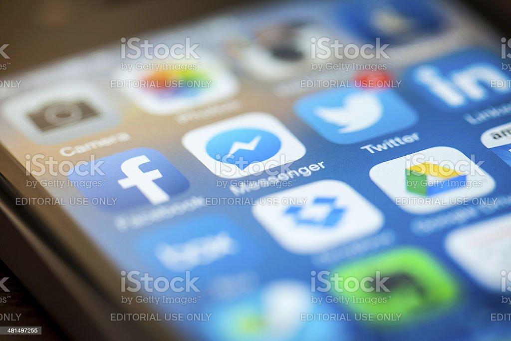 Facebook on iPhone stock photo