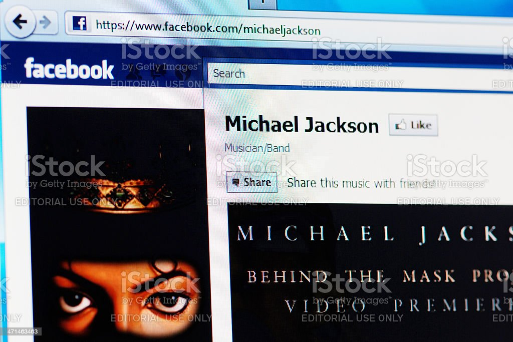 Facebook page of Michael Jackson on RGB laptop monitor stock photo