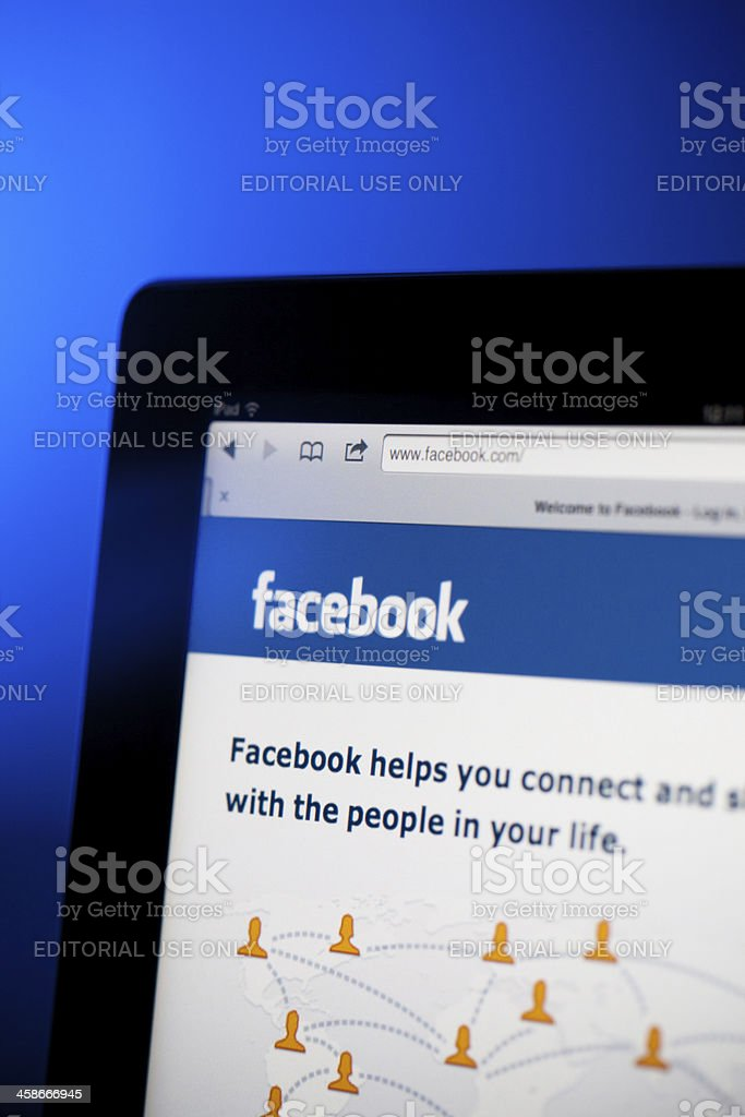 Facebook page on iPad royalty-free stock photo
