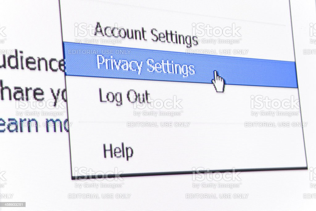 Facebook Privacy Settings stock photo