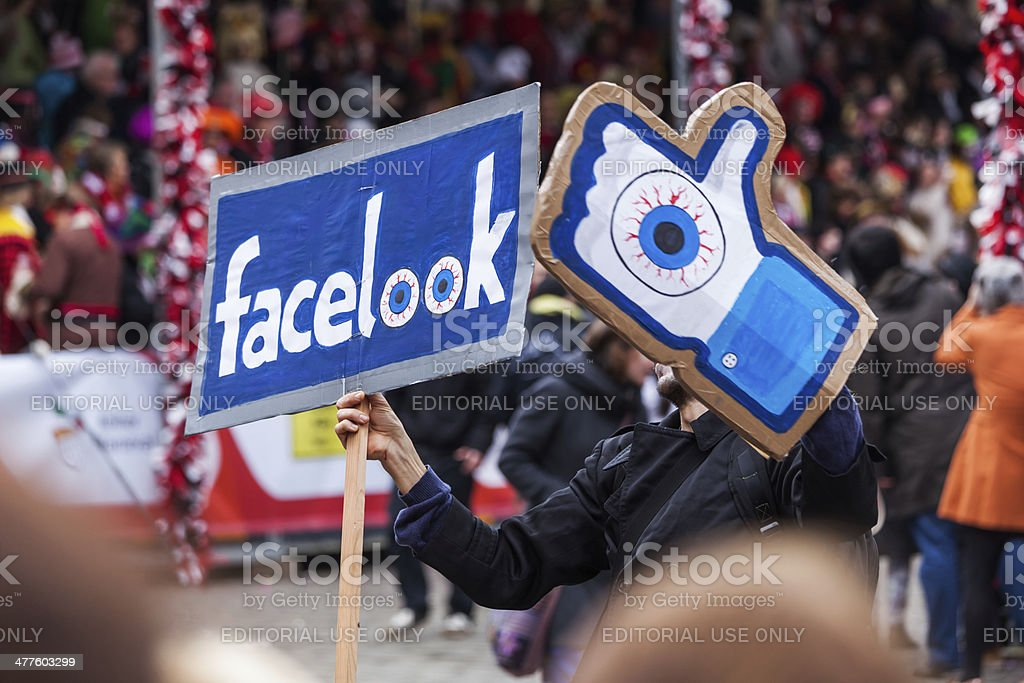 facebook satire at the Rose Monday parade stock photo