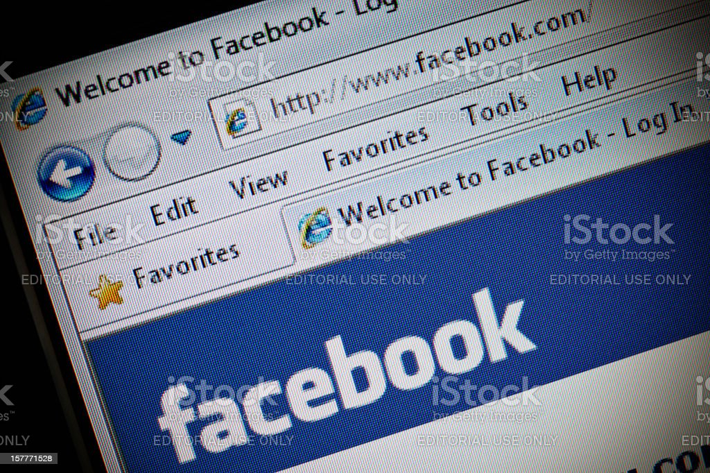 Facebook site in Internet Explorer browser on LCD screen royalty-free stock photo