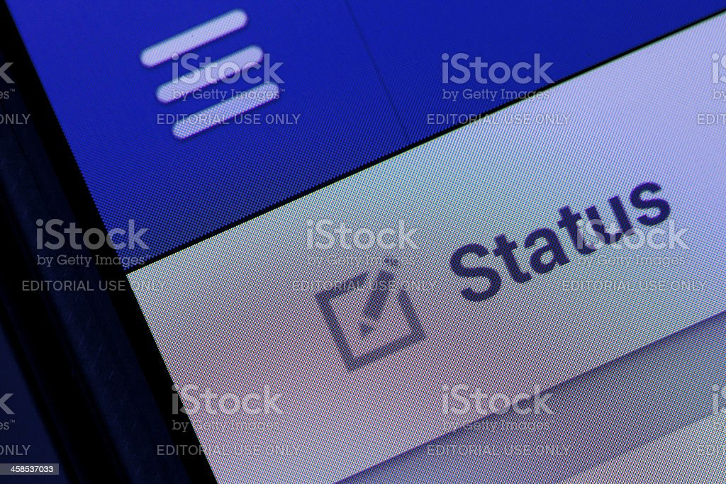 Facebook Status stock photo