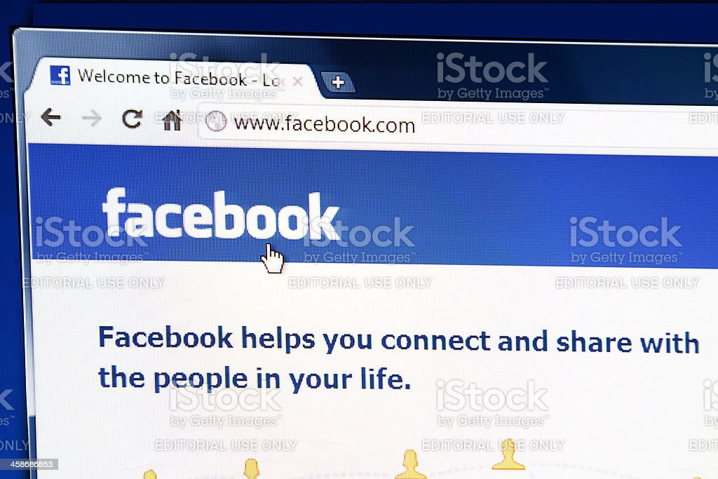 Facebook webpage on the browser royalty-free stock photo