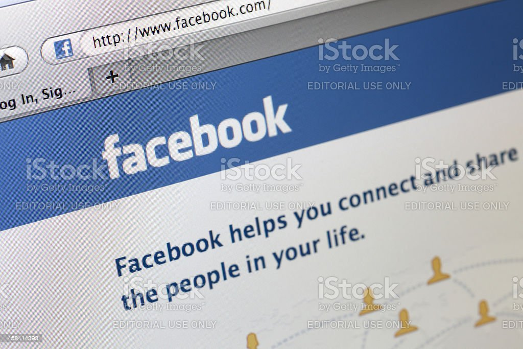 Facebook.com Homepage royalty-free stock photo