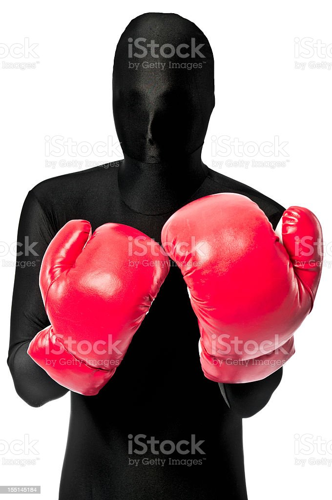 Faceless Boxer In Red Boxing Gloves stock photo
