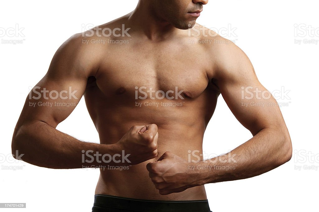 Faceless male torso flexing royalty-free stock photo