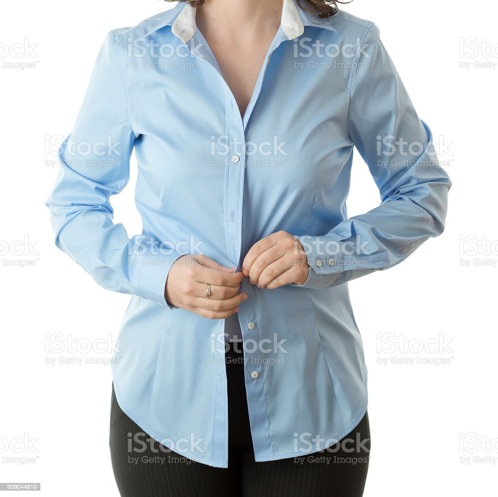 Faceless woman getting dressed stock photo