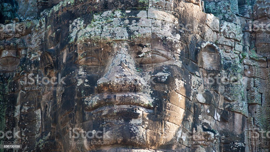 Faces at the Gateway to Ankor Thom stock photo