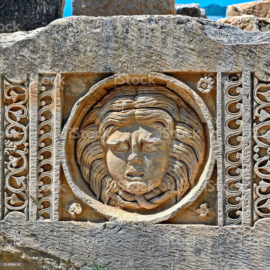 Faces from ancient city Myra, Turkey stock photo