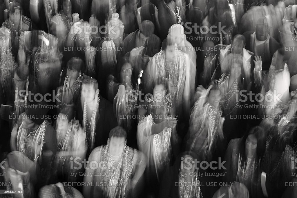Blur of party crowd on Bourbon Street royalty-free stock photo